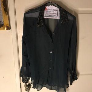 mora b Tops - Shear green beaded blouse